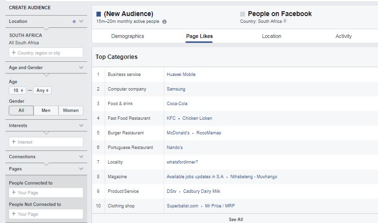 Screen shot of FB audience insights