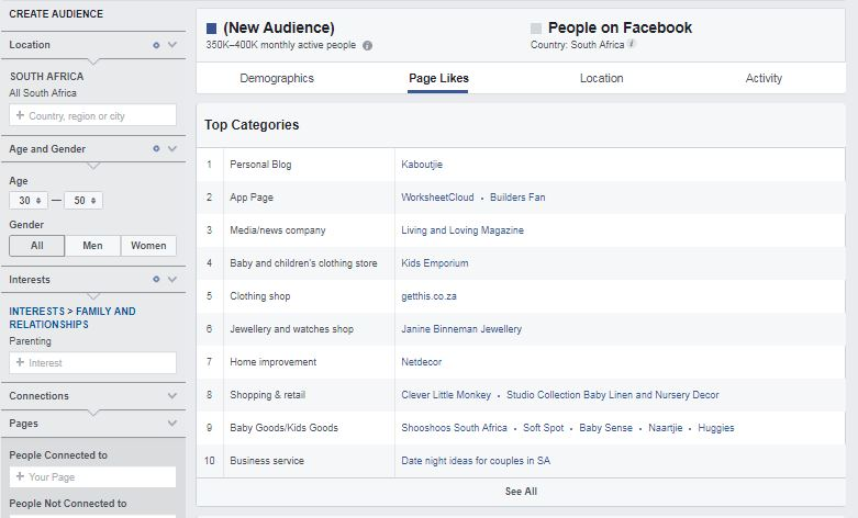 Screenshot of Facebook's audience insights