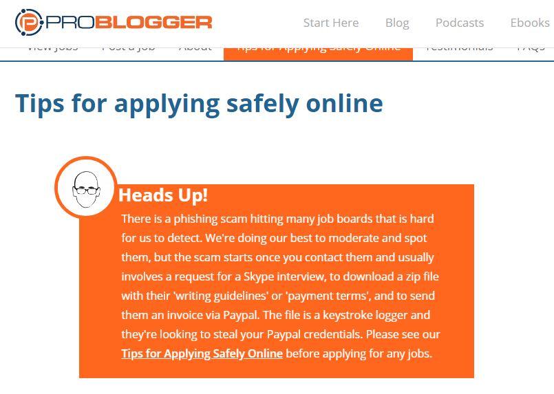 Warning against scam on ProBlogger website