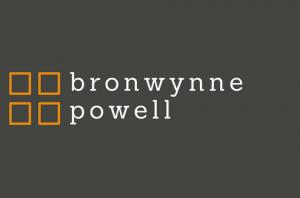 Bronwynne Powell logo. Grey background and four orange blocks