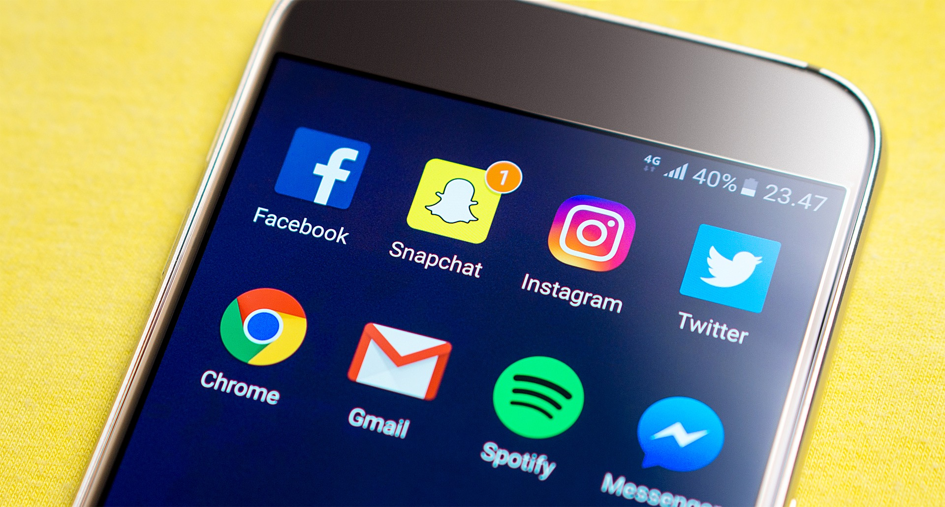 Mobile phone with social media apps icon, Snapchat has one notification
